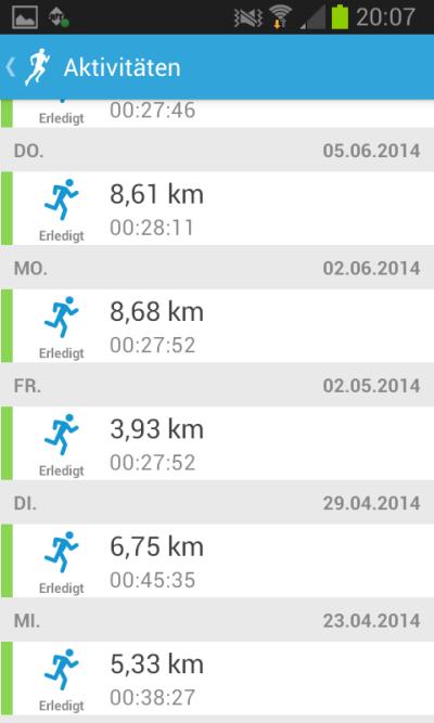 Runkeeper: die Lauf-App im Test: Aktivitäten