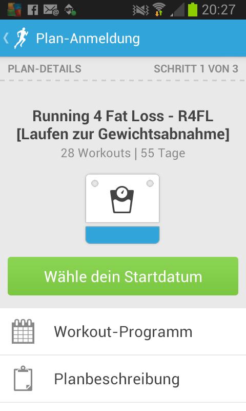Start bei der Runkeeper App